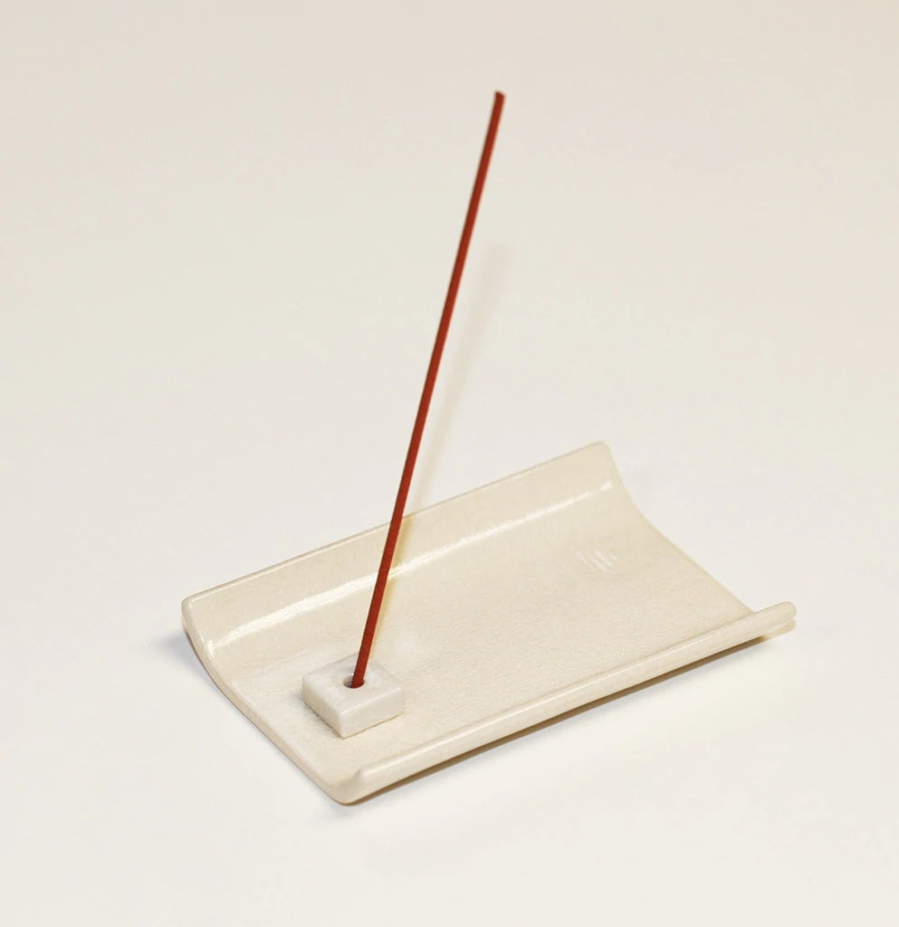 White Ceramic Plate Incense Holder