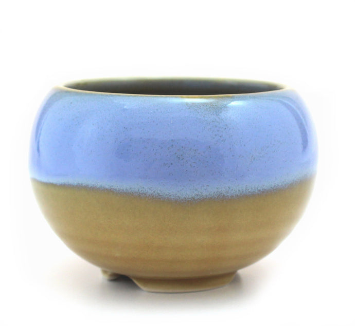 Olive and Azure Japanese Ceramic Incense Bowl