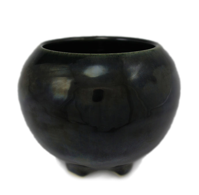 Obsidian Japanese Ceramic Incense Bowl