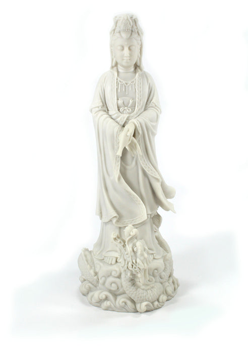White Kannon on Dragon Statue