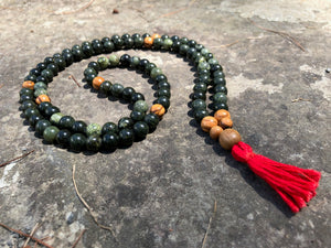 Serpentine and Olivewood Full Mala