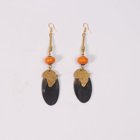 Tribal Afrikan Earrings (Amber, Cow Bone & Brass)