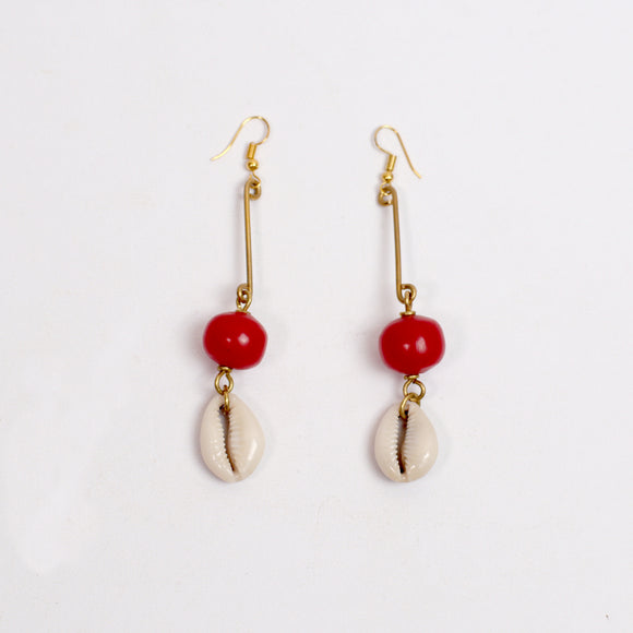 Tribal Earrings (Red Amber & Cowrie Shell)