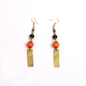 Tribal Earrings (Brass,Red Amber & Beads)