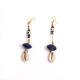 Tribal Earrings (Blue Bead & Cowrie Shell)