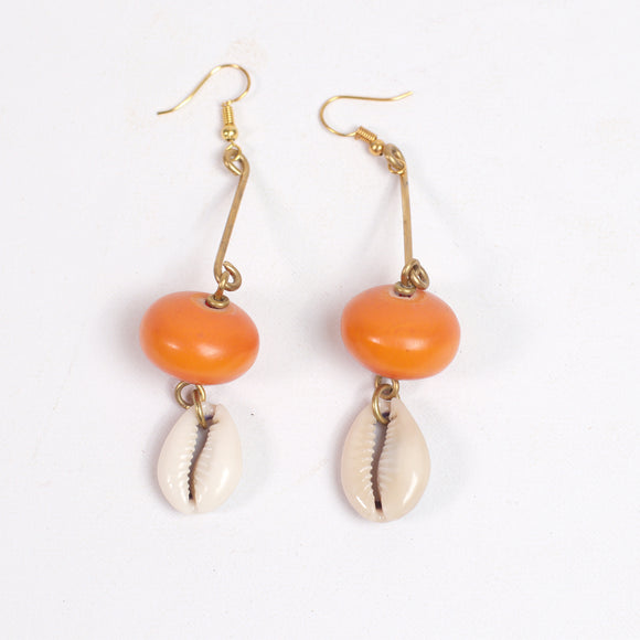 Tribal Earrings (Orange Amber & Cowrie Shell)