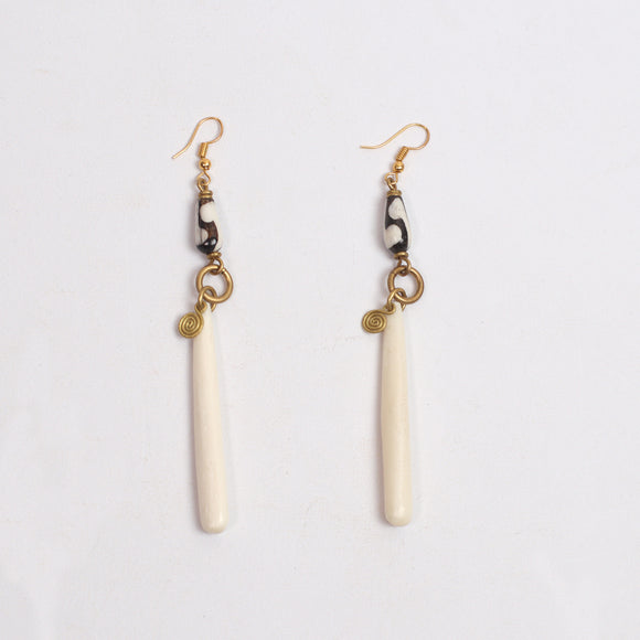 Tribal Earrings (Cow Bone & Bead)