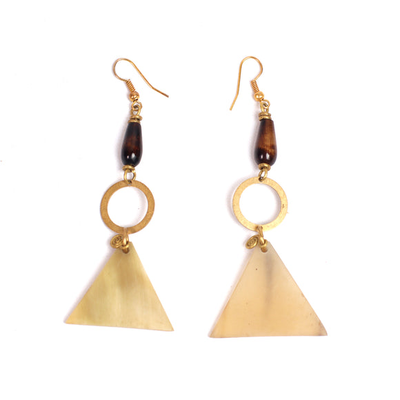 Tribal Pyramid Earrings (Cow Bone & Bead)