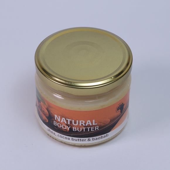 Natural Body Butter (Shea, Baobab Oil, Cocoa Butter, Coconut Oil & Orange Oil)