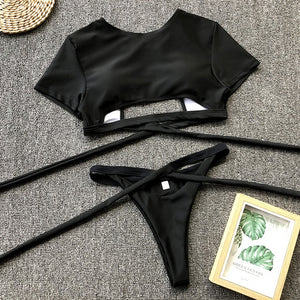 Lace Up Top And Thong Beach Two Piece -  Look-fly.ca