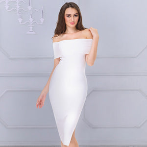 Sexy Off Shoulder Midi Bodycon Evening Party Dress