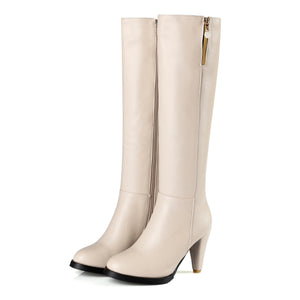 Fashion High Heel Long Zip Boots For Women Plus Size