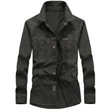 Load image into Gallery viewer, Men Turn Down Collar Breathable Long Sleeve Autumn Casual Army Military Shirt