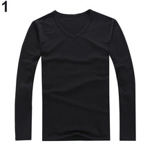 Load image into Gallery viewer, Slim Fit Cotton V-neck Long Sleeve T-shirt -  Look-fly.ca