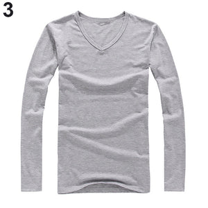 Slim Fit Cotton V-neck Long Sleeve T-shirt -  Look-fly.ca