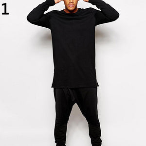 O Neck Long Sleeve Side Zipper Long T-Shirt Tee Top