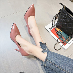 Pointed shallow slim-heeled high-heeled single shoes