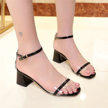 Load image into Gallery viewer, Button sandals with thick middle heel and open toe