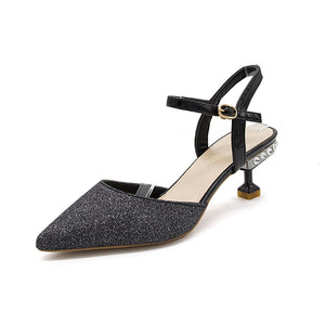 Baotou Pointed Button Sandals With Medium Heel