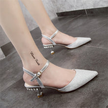 Load image into Gallery viewer, Baotou Pointed Button Sandals With Medium Heel