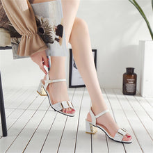 Load image into Gallery viewer, Big size sandals with thick middle heel and open toe