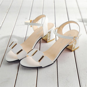 Big size sandals with thick middle heel and open toe