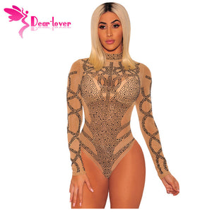 Bustier Mesh Long Sleeves Skinny Bodysuit