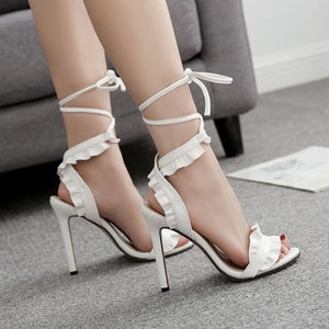 TopSandals Fish-mouth Lace-crossed High-heeled Shoes PLUS SIZE 40 11.5cm heels