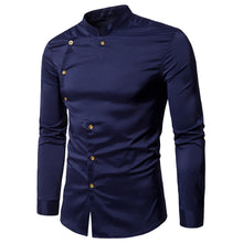 Load image into Gallery viewer, Asymmetrical Button Up Mandarin Collar Shirt -  Look-fly.ca