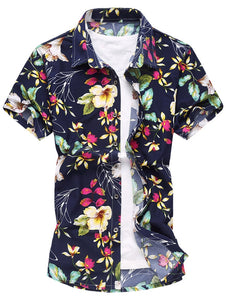 Flower Print Short Sleeve Shirt -  Look-fly.ca