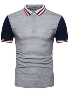 Contrast Color Striped Short Sleeve Polo T-Shirt -  Look-fly.ca