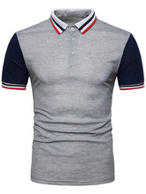 Load image into Gallery viewer, Contrast Color Striped Short Sleeve Polo T-Shirt -  Look-fly.ca