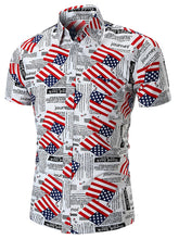 Load image into Gallery viewer, American Flag Letter Print Short Sleeve Shirt -  Look-fly.ca