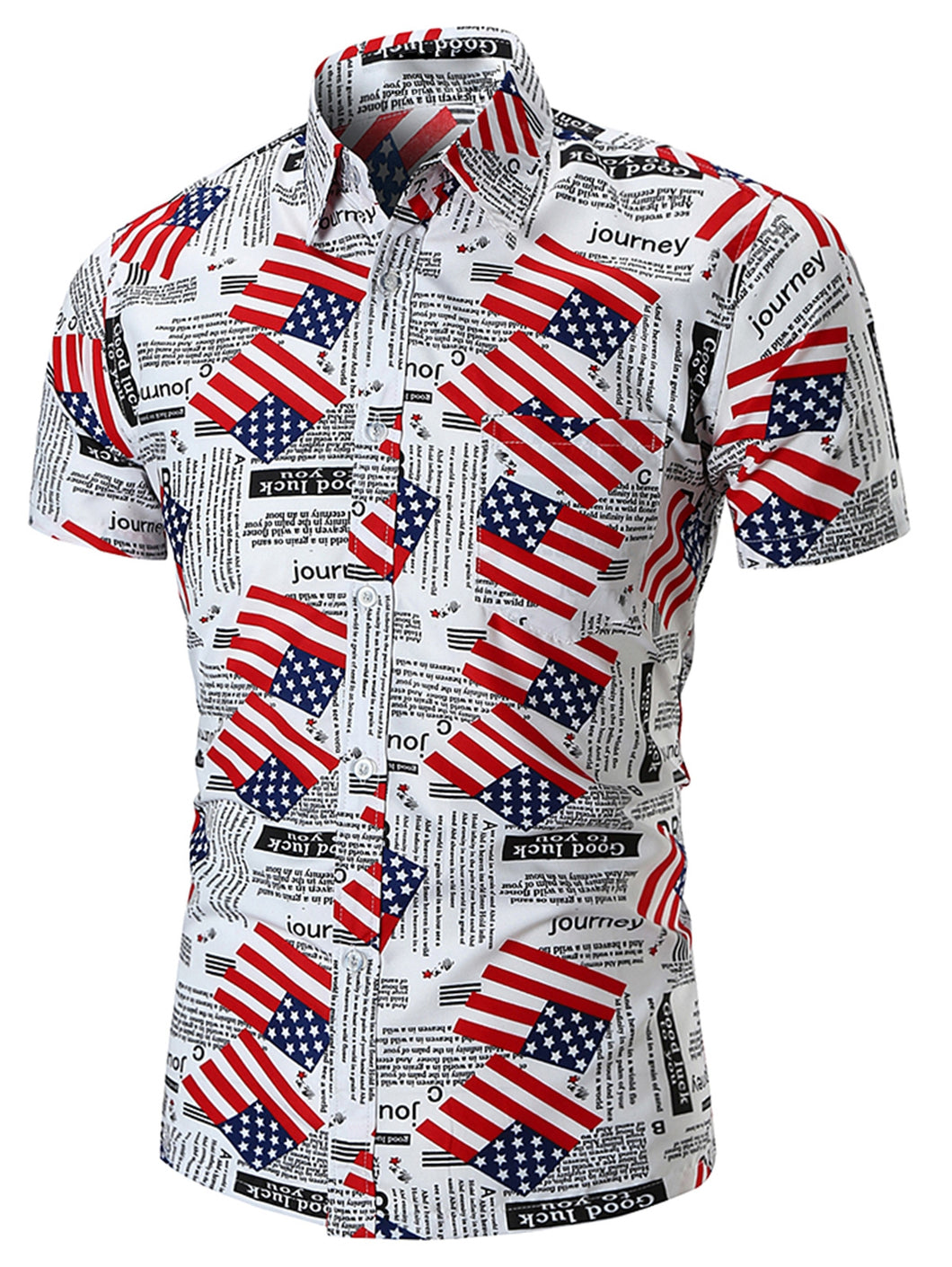 American Flag Letter Print Short Sleeve Shirt -  Look-fly.ca