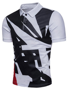 Geometrical Pattern Polo Collar T-Shirt -  Look-fly.ca
