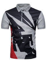 Load image into Gallery viewer, Geometrical Pattern Polo Collar T-Shirt -  Look-fly.ca