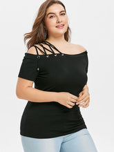 Load image into Gallery viewer, Plus Size Off The Shoulder Strappy Women T-Shirt -  Look-fly.ca