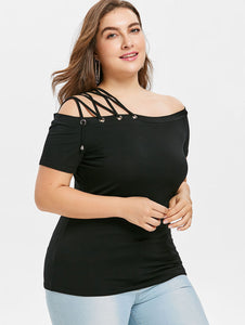 Plus Size Off The Shoulder Strappy Women T-Shirt -  Look-fly.ca