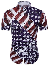 Load image into Gallery viewer, Hidden Button American Flag Print Shirt -  Look-fly.ca