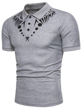 Load image into Gallery viewer, Star Geometric Print Short Sleeve Polo Collar T-Shirt -  Look-fly.ca