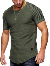 Load image into Gallery viewer, Pleated Sleeve Curved Hem T-Shirt -  Look-fly.ca