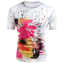 Load image into Gallery viewer, Short Sleeve Paint Splatter Print T-Shirt -  Look-fly.ca