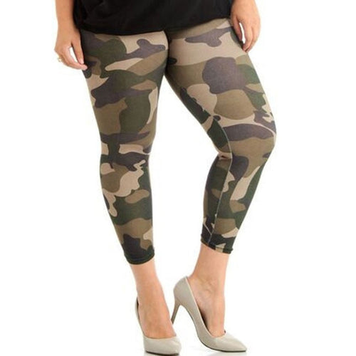 Elastic Skinny Camouflage Legging Plus Size High Waist Fitness Women Jogging Pants