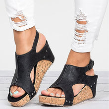 Load image into Gallery viewer, Peep Toe PU Belt Buckle Blocking Hook-Loop Fashion Wedges Sandals Summer Shoes