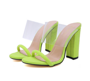 Clear Transparent Cut Out Shoes Thick Block High Heel Slide Mules Chunky Heel Pumps