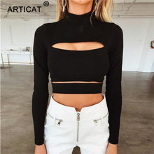 Load image into Gallery viewer, Long Sleeve Bandage Crop Top Casual T-Shirt -  Look-fly.ca