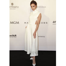 Load image into Gallery viewer, The High Collar Waistless Sleeveless White Long Dress