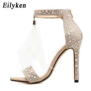 Zipper Feather High Heel Apricot Women Wedding Pumps Shoes