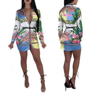 Print Multicolor Shirt Skirt Dress -  Look-fly.ca