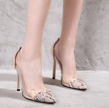 Load image into Gallery viewer, Clear Transparent High Heel Dress OL Shoes Patchwork Faux Snakeskin Print Court Shoes